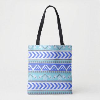 Bolsa Tote Teste padrão asteca azul do sudoeste