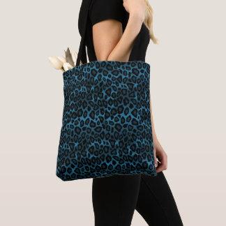 Bolsa Tote Teste padrão azul à moda do leopardo
