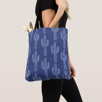 Bolsa Tote Teste padrão azul boémio do cacto de Boho