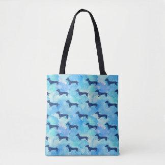 Bolsa Tote Teste padrão azul do Dachshund da aguarela do