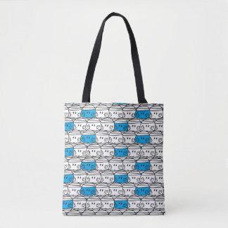 Bolsa Tote Teste padrão azul do Sr. Colisão  