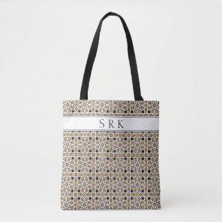 Bolsa Tote Teste padrão bege do monograma e preto marroquino