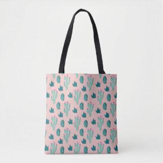Bolsa Tote Teste padrão bonito do cacto do rosa e do verde