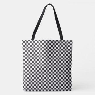 Bolsa Tote Teste padrão Checkered retro clássico preto e