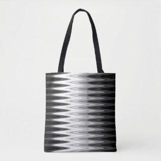 Bolsa Tote Teste padrão cinzento branco preto do ziguezague