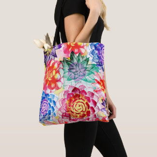 Bolsa Tote Teste padrão colorido bonito da planta do