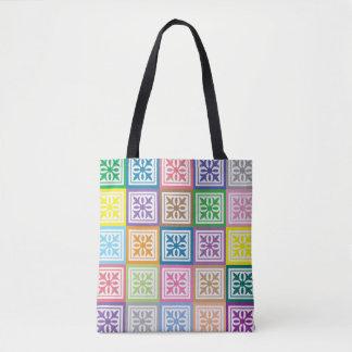 Bolsa Tote Teste padrão colorido dos quadrados