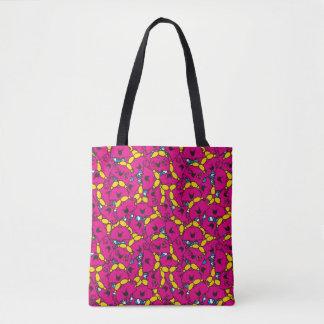 Bolsa Tote Teste padrão cor-de-rosa brilhante pequeno da