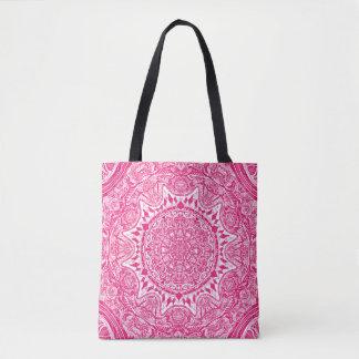 Bolsa Tote Teste padrão cor-de-rosa da mandala