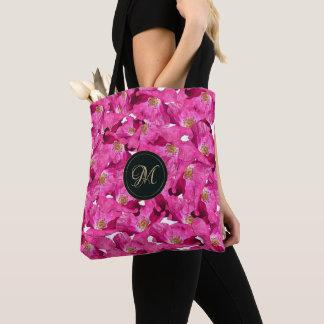 Bolsa Tote Teste padrão cor-de-rosa das papoilas florais.