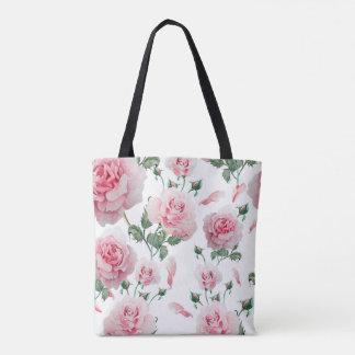 Bolsa Tote Teste padrão cor-de-rosa dos rosas do Scatter