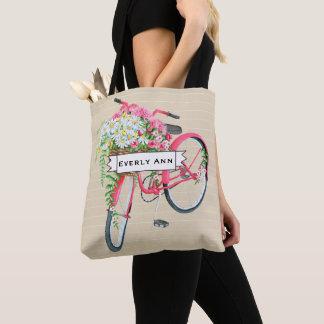 Bolsa Tote Teste padrão cor-de-rosa retro da bicicleta da