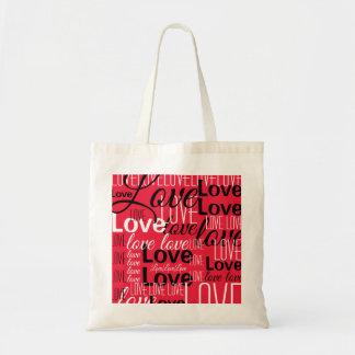 Bolsa Tote Teste padrão da arte da palavra do amor