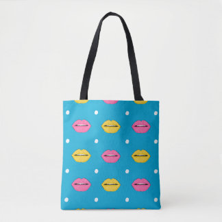Bolsa Tote Teste padrão da forma do pop art do bordo com