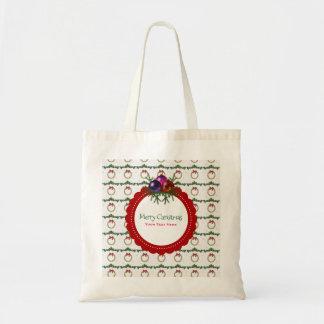 Bolsa Tote Teste padrão da grinalda do Natal com costume do