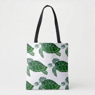 Bolsa Tote Teste padrão da tartaruga de mar verde