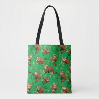 Bolsa Tote Teste padrão das folhas da panda vermelha & do