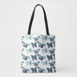 Bolsa Tote Teste padrão de borboletas azul verde artístico da