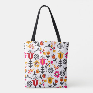 Bolsa Tote Teste padrão de flor cor-de-rosa preto amarelo
