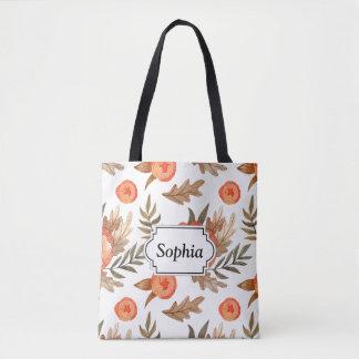 Bolsa Tote Teste padrão de flor tirado do batik do outono mão