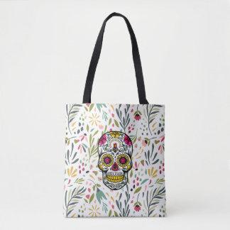 Bolsa Tote Teste padrão de flores de Colorfu & crânio do