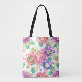 Bolsa Tote Teste padrão de flores tropical colorido