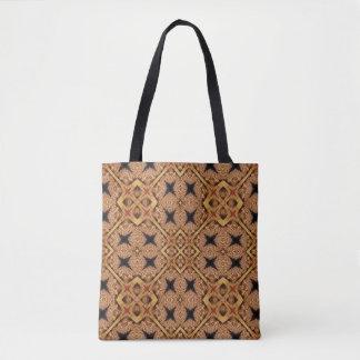 Bolsa Tote Teste padrão de mosaico de Brown e de creme