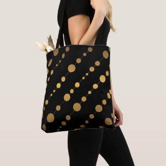 Bolsa Tote Teste padrão de ponto preto e moderno do ouro