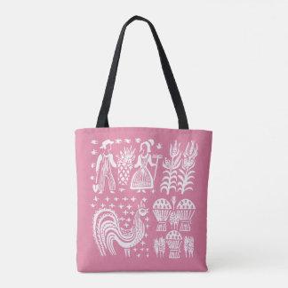 Bolsa Tote Teste padrão de Pyrex do vintage - rosa de