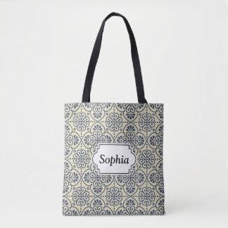 Bolsa Tote Teste padrão decorativo floral geométrico retro