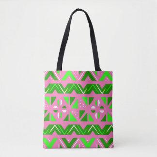 Bolsa Tote Teste padrão do africano do rosa & do verde
