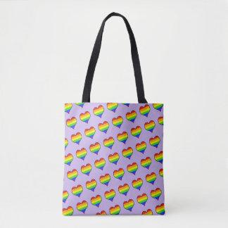 Bolsa Tote Teste padrão do coração do arco-íris