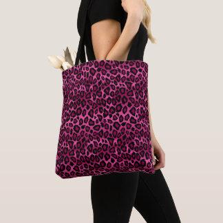 Bolsa Tote Teste padrão do leopardo do rosa quente