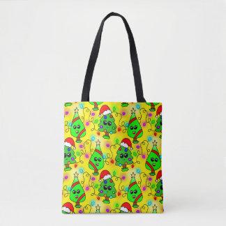 Bolsa Tote Teste padrão doce da árvore de Natal de Kawaii