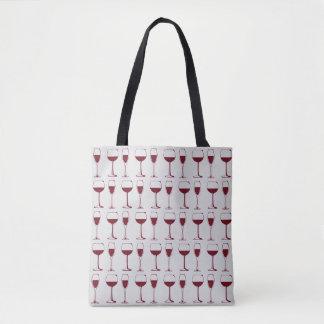 Bolsa Tote Teste padrão dos vidros de vinho tinto