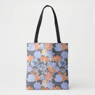 Bolsa Tote Teste padrão floral alaranjado violeta cinzento do