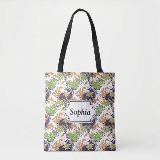 Bolsa Tote Teste padrão floral artístico do batik das