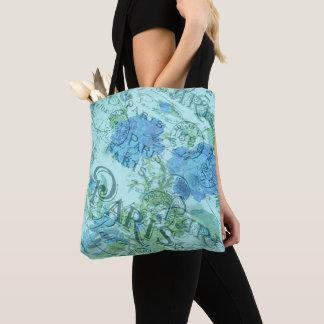 Bolsa Tote Teste padrão floral azul do carimbo postal de