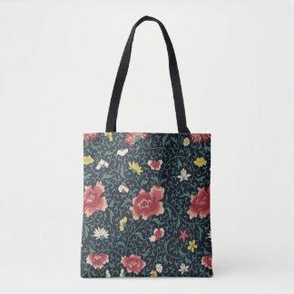 Bolsa Tote Teste padrão floral bonito do vintage antigo