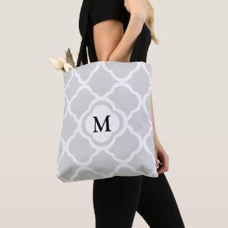 Bolsa Tote Teste padrão floral cinzento de Quatrefoil com