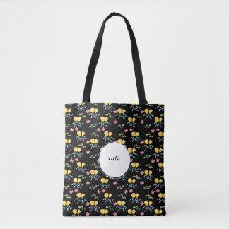 Bolsa Tote Teste padrão floral com nome de etiqueta feito sob