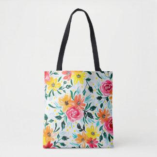 Bolsa Tote Teste padrão floral da aguarela colorida feminino