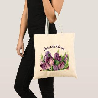 Bolsa Tote Teste padrão floral da aguarela das tulipas roxas
