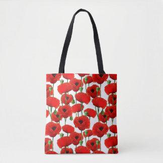 Bolsa Tote Teste padrão floral das papoilas vermelhas