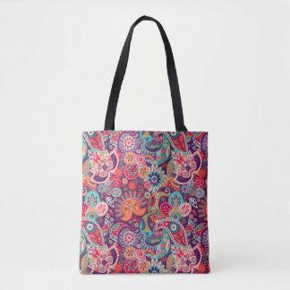 Bolsa Tote Teste padrão floral de néon cor-de-rosa de Paisley