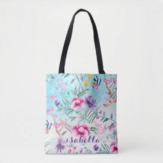 Bolsa Tote Teste padrão floral do Chinoiserie por todo o lado