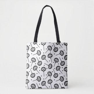 Bolsa Tote Teste padrão floral do fã preto e branco