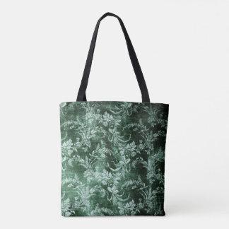 Bolsa Tote Teste padrão floral do vintage do Grunge em verde