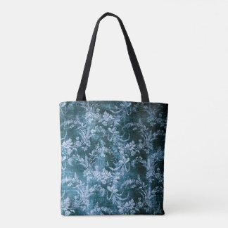 Bolsa Tote Teste padrão floral do vintage do Grunge no azul