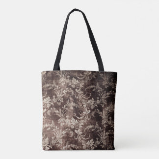 Bolsa Tote Teste padrão floral do vintage do Grunge no marrom